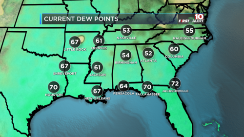 Dew Points Current Regional